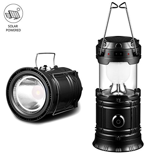 Solar Lantern Camping Flashlights Rechargeable Battery Emergency Solar Powered Flashlights Collapsible Lanterns for Hiking Fishing Tent Hurricane(Black,1 PC)