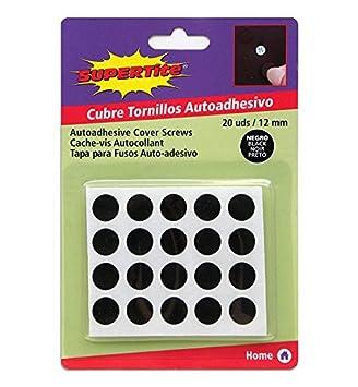 FERREIKEA Supertite - Embellecedor Cubre-Tornillos Adhesivo, Color Negro.Ø 12 mm (20 Unidades(1 Paquete)): Amazon.es: Hogar