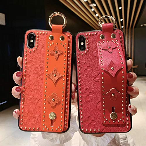 New Women Men Phone Case Fashion New Rivet Fashion Phone case Cover for iPhone 7plus 8plus 6Splus 6 7 8 X XS max Xr 6.5 inch 6.1 Wrist Strap case,Orange,for iPhone Xr orange iphone xr case 4
