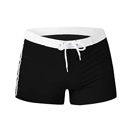 b3bd2357ee Zackate Mens Swim Trunks Square Leg Swimming Boxer Briefs Beach Shorts  Swimsuits Without Pocket Swimsuit Black