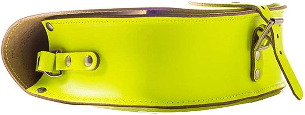 A to Z Leather Sac besace rond en cuir doté d'une bandoulière ajustable. Personnalisable avec vos initiales. Jaune Fluo