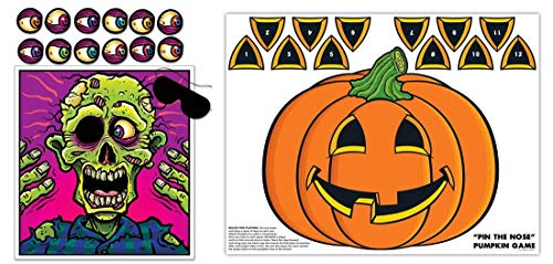 HAPPY DEALS~ Halloween Games Set + pin The Nose Pumpkin Game + Pin The Eye on The Zombie Game Set of 2 Halloween Party -