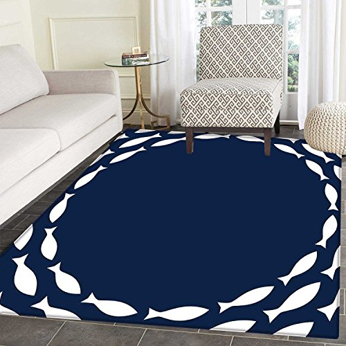 Navy Fish - Navy Blue Area Mat Ocean Aqua Navy Themed School of Cute Fish Swimming in a Circle Print Indoor/Outdoor Area Mat 2'x3' Navy Blue and White