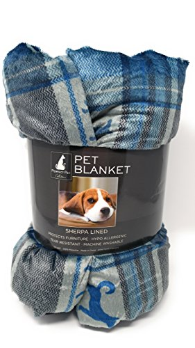 Blue and Gray Plaid with Black Dogs Sherpa Lined Pet Blanket Fashion Pet Plaid Blanket