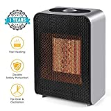 Ceramic Space Heater, 1500W Fast Heat Portable Electric Space Heater with 2s Quick Heating PTC Plate, Overheat & Tip-Over Protection for Office Small Room Desk