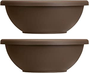 Akro-Mils HC Companies 22 Inch Resin Garden Bowl Planter Pot, Chocolate Brown (2 Pack)
