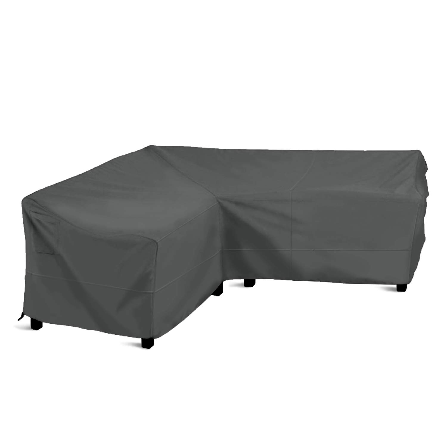 Delxo Sectional Sofa Cover Waterproof - 100% UV & Weather Resistant PVC Coated, V-Shaped, Dark Green by Delxo