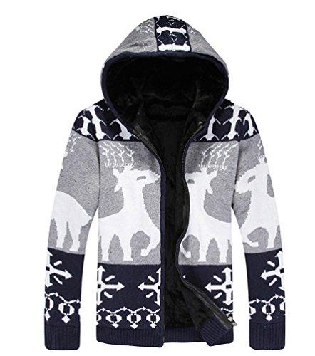 Maglia Blu Giacca Lunga Chengyang Maglione Uomo Manica Scuro Cappuccio In Invernale Cardigan Cappotto Con q4RgTFaR