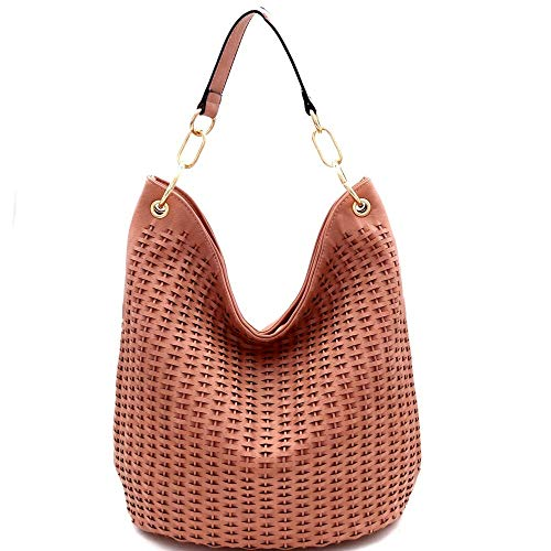 Crochet Hobo Handbag - Woven Accent Chain Decorated Single Strap Hobo Purse