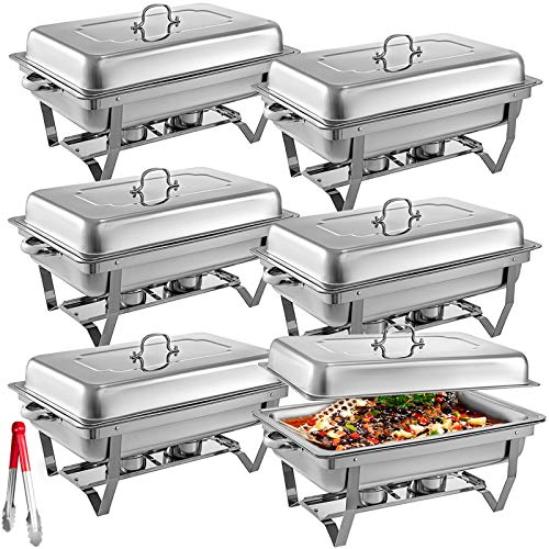 Mophorn 6 Packs Stainless Steel Chafing Dishes 8 Quart Full Size Pan Rectangular Chafer Complete Set (Dish Sets Complete)