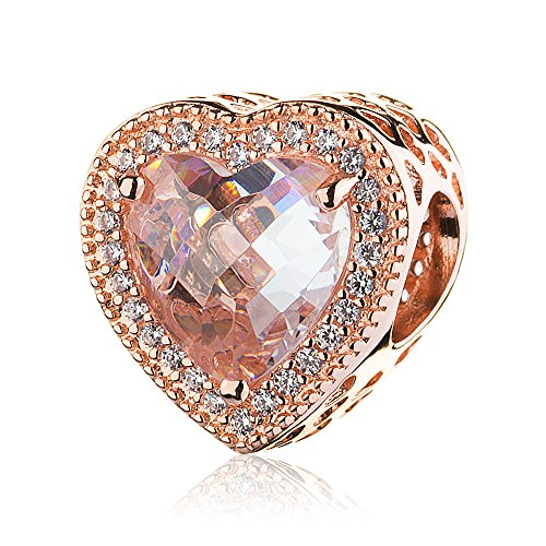 Rose Gold Pave - ATHENAIE 925 Sterling Silver Rose Gold Pave Clear CZ Radiant Hearts Bead Charm for Graduation Gifts