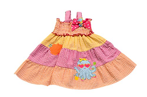 Seersucker Sundress (Good Lad Girl's Smocked Top Orange Seersucker Sundress With Octopus Applique (6))