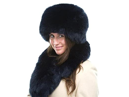 0e454a8f Ladies Navy Faux Fur Fashion Winter Hat and Scarf Set: Amazon.co.uk:  Clothing