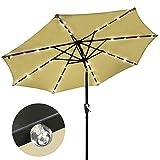 9′ Solar Aluminium Outdoor Tilt Patio Umbrella w/ 32 LEDs Tan For Sale