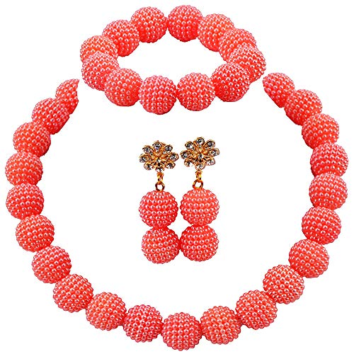 aczuv Nigerian Wedding African Beads Jewelry Set Women Simulated Pearl Necklace and Earrings (Living Coral) ()
