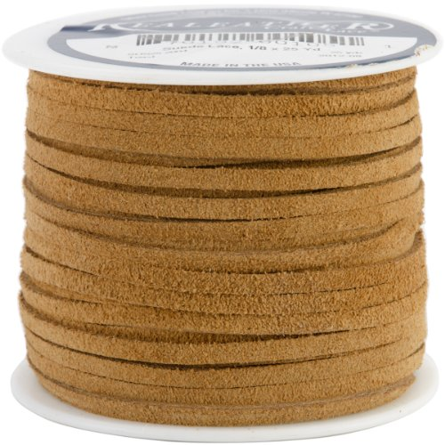 Realeather Crafts Suede Lace, 0.125-Inch Wide and 25-Yard Spool, (Suede Braid)