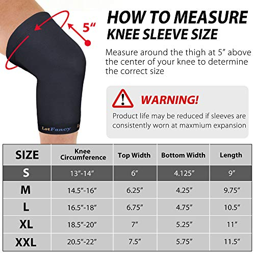 Copper Knee Brace, LotFancy Copper Compression Sleeve for Women Men, Ideal Support for ACL, Meniscus, MCL, Stiff Muscle and Joints, 1 Pair, Small
