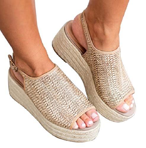 Blivener Espadrille Wedge Sandals Casual Summer Peep Toe Slingback Platform Sandals Shoes BEIGE43 (10.5)