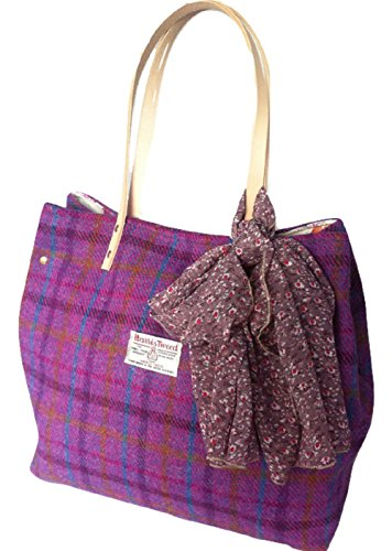 Edinburgh A Harris Donna Large Spalla Tweed Borsa Viola TqxxnPg8w