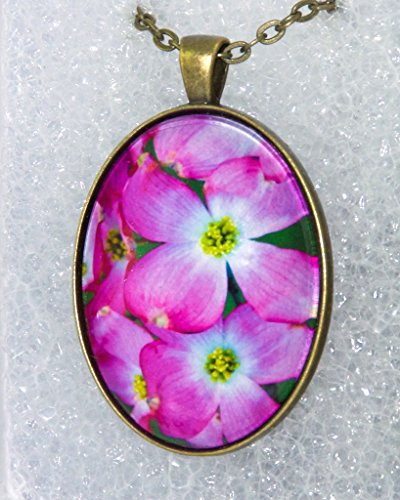 Pink Dogwood Blossoms Oval Pendant with (Oval Blossom)