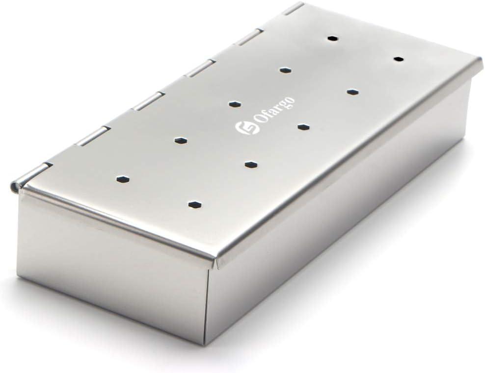 Ofargo - Caja de ahumar para astillas de madera con acero inoxidable para parrilla de carbón y gas