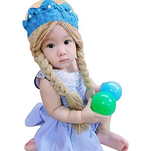 Elsa Frozen Costume hat Wig Hair Tiara Baby Girl with Two Braids (Large)