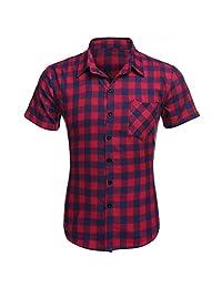 Coofandy Casual Plaid Short Sleeve Shirt Fashion T-shirts