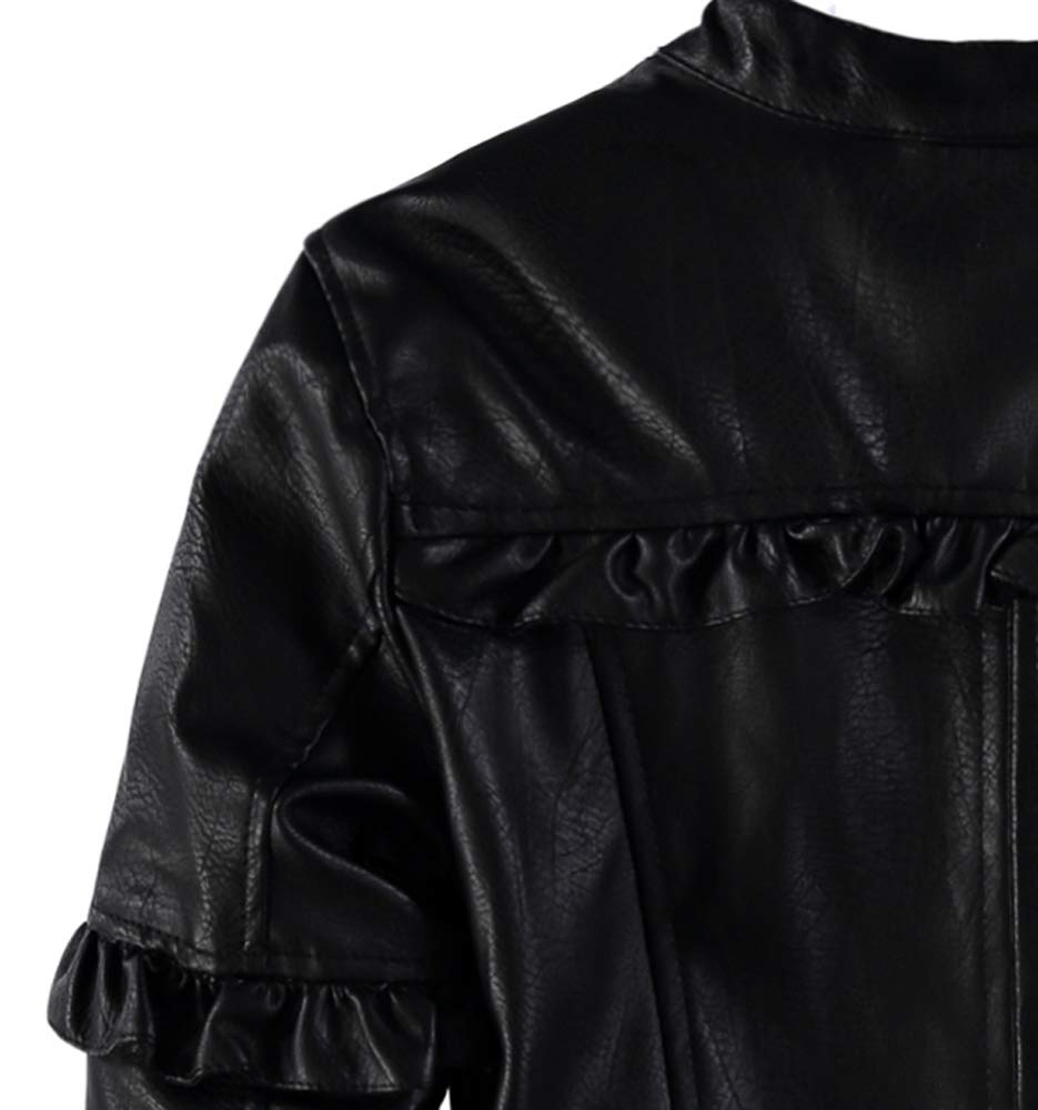 Urban Republic Girls' Faux Leather Ruffle Moto Jacket (Black, 7/8) by Urban Republic (Image #5)