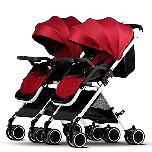 CHEERALL Foldable Twin Baby Stroller, Portable Double Pushchairs Adjustable Backrest Detachable Ultra Light Shock Tandem Toddler Trolley,C
