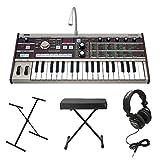 Korg microKORG 37-Mini Keys Keyboard Synthesizer/Vocoder w/ Knox Stand, Knox Portable Bench & Full-Size Headphones (Black)