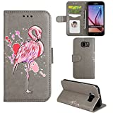 Samsung Galaxy S7 Edge Case, Ailisi [Pink Flamingo] Leather Wallet Flip Phone Case Magnetic Cover with TPU Inner, Shock-Absorption Protective Case with Card Slots, Stand Function (Gray)