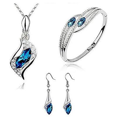 HSG Jewelry Set Peacock Blue Necklace & Earring & Bracelets