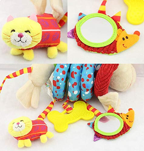 Hosim Cute Puppy Design Infant Baby Around Crib Mobile Spiral Bed Bar Developmental Plush Animal Soft Toy Kids Stroller and Travel Activity Toy with Safety Mirror