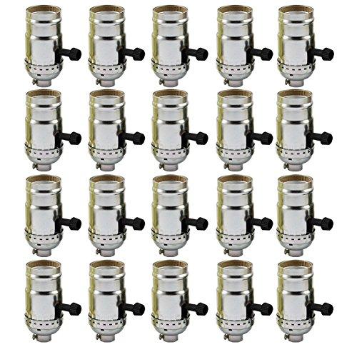 AAF On-Off Turn Knob Socket Polished Nickel Finish, E26 / E27 Medium Base with Screw Set, Pack of 20 by AAF