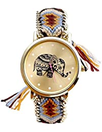 Womens Cute Cat With Glasses Gold Dial Wool Cloth Braid Chain Bracelet Watch Wedding Party Gift