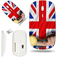 Luxlady Wireless Mouse White Base Travel 2.4G Wireless Mice with USB Receiver, 1000 DPI for notebook, pc, laptop, macdesign IMAGE ID: 20355975 Winner holding gold medal for sport and national flag of
