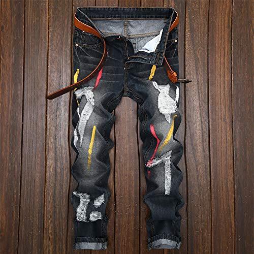 Cebbay Hombres para Jeans Ciclismo Deportivos Vaqueros Liquidación Cremallera Recto Vintage Pantalones de Agujero Hombres Azul Pantalones la de impresión los de rznArXqw