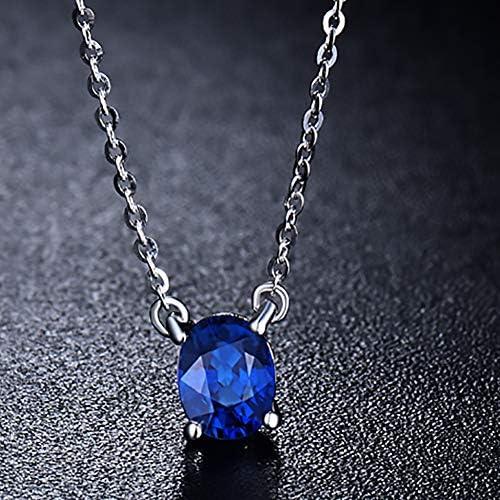 Lanmi 18ct White Gold Natural Sapphire Diamond Pendant Necklace for Women