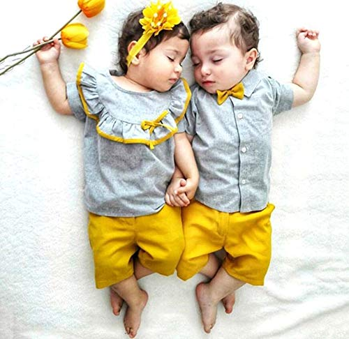 (US Baby Boys Bowtie Gentleman suit Overalls,Children's Suit 2019 Summer New Baby Boys And Girls Tie Bow Tie Hair Short Sleeve Pants Suit Cotton Casual Sports Suit (2T, B))