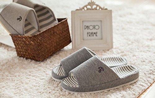 A Times grey TM House Slippers Slippers Cotton Comfy Bronze Unisex Platform Stripe vq1pwvdx