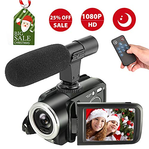 Camcorder Digital Video Camera, Camcorder with Microphone Full HD Vlogging Camera for YouTube 1080p 24.0MP Night Vision Vlog Camera Support LED Light Input