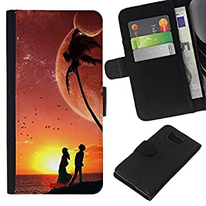KingStore / Leather Etui en cuir / Samsung ALPHA G850 / Sunset Beach Pareja Amor Romance del cielo nocturno