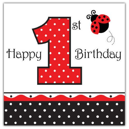 16-Count Paper Lunch Napkins, Ladybug Fancy Happy 1st Birthday 1st Birthday Lunch Napkins