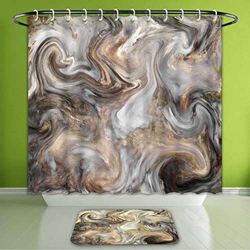 Waterproof Shower Curtain and Bath Rug Set Marble Stone Background Texture Abstract Mottled Grunge Background Texture with Bath Curtain and Doormat Suit for Bathroom Extra Long Size 72