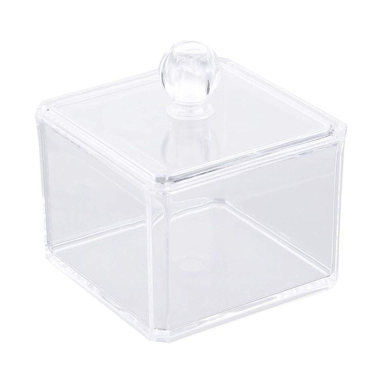 takestop® Organizer Contenitore Quadrato ESY_10241 Porta DISCHETTI STRUCCANTI Trucco Cosmetici Make UP ESPOSITORE Trasparente Acrilico MOON 10012439
