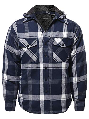 Casual Detachable Hoodie Plaid Flannel Quilted Button Jacket Navy 2XL
