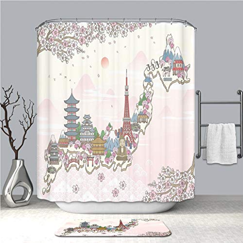 Creative Shower curtain And bath mat rug Japanese Japan Travel Poster with Sakura Tree Branches Blossoms Asian Journey Destination Multicolor custom Stylish,waterproof,Mildew proof Bathroom set