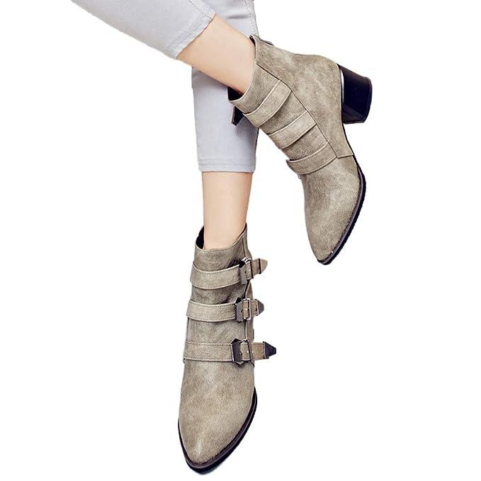 Mujer Invierno Moda Calentar Botas JiaMeng Hebilla de cinturón de Moda Zapatos de tacón Alto Volver Cremallera Botas Desnudas Botines Calentar Botas De ...