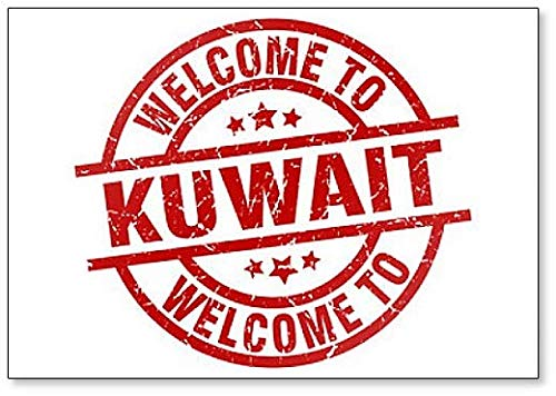 Welcome to Kuwait Red Stamp Illustration Fridge Magnet