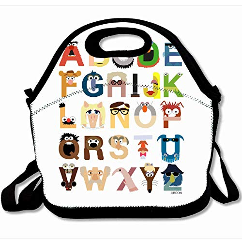 (Ahawoso Reusable Insulated Lunch Tote Bag Muppet Alphabet Fashion Design 10X11 Zippered Neoprene School Picnic Gourmet Lunchbox)